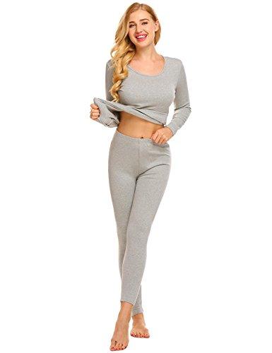 Skylin Women s Stretch Long Johns Thin Thermal Underwear Set Top   Bottom  (Dark ... bea4c27d6