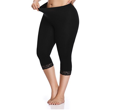 Kotii Women's Plus Size Lace Trim Capri Leggings Stretch Crop Leggings Summer Tights Pants,Black,2X