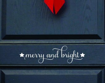 merry and bright christmas decor decal christmas decorations door vinyl decal rustic christmas - Merry And Bright Christmas Decorations