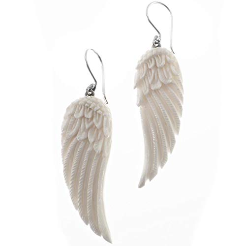 Eagle Angel Wings Buffalo Bone Hand Carving 925 Sterling Silver Earrings, 1 11/16