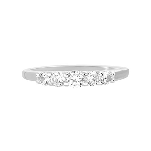 Devin Rose Five Stone Engagement Wedding Ring for Women made with Swarovski Crystal in 925 Sterling Silver (Size 7)
