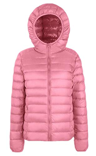 Pink Women Hooded Jacket Short Ultra Packable EKU Down xwnvB