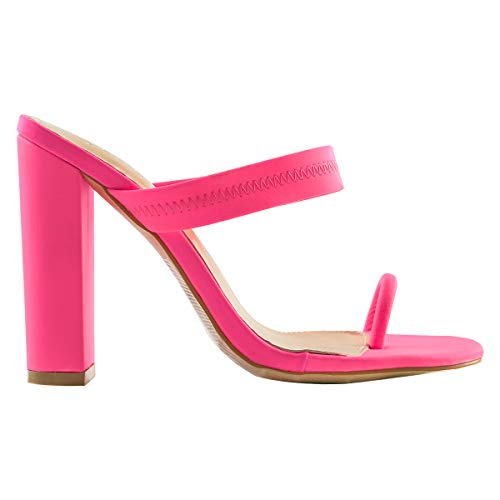 OLCHEE Women's Fashion Strappy High Heel Mules Sandals - Pointy Open Toe Slipper Toe Ring - Block Heels Pink Size 7