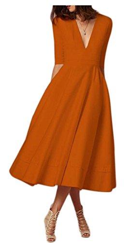 Tunique Élégante Col V Profond Cocktail Maxi Femmes Alion Balançoire Robes Vintage Semi-manches D'orange