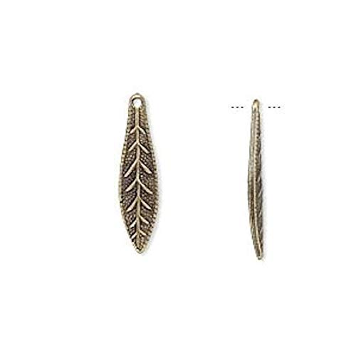 - Pendant Jewelry Making for Bracelets and Chains 48 Antiqued Gold Plated Brass Leaf Drop Charms ~ 19x5mm