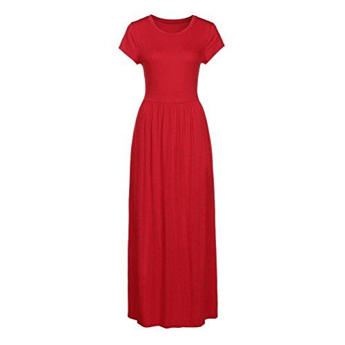 ... MCYs Damen Sommerkleider Elegant Einfarbig Falten Kurzarm Lose  Strandkleid Bandeau Langarm Beach Maxi Kleider mit Tasche ... e7832cd1e6