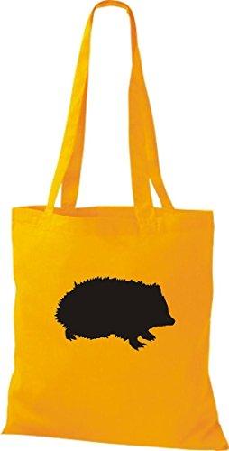 Bolsa de tela de animales zoo Natural wildness erizo Hedgehog Bolsa bandolera, muchos colores amarillo