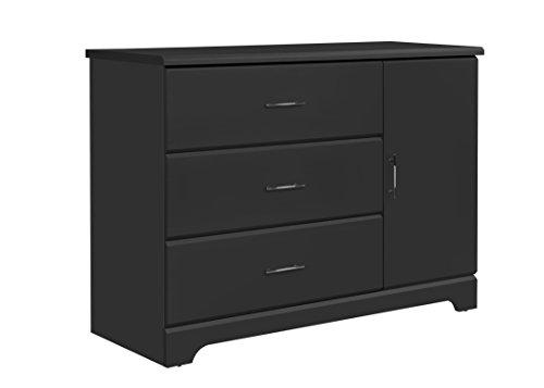 Storkcraft Brookside 3 Drawer Combo Dresser, Gray Kids Bedroom Dresser with 3 Drawers & 2 Shelves, Wood & Composite Construction, Ideal for Nursery, Toddlers Room, Kids Room