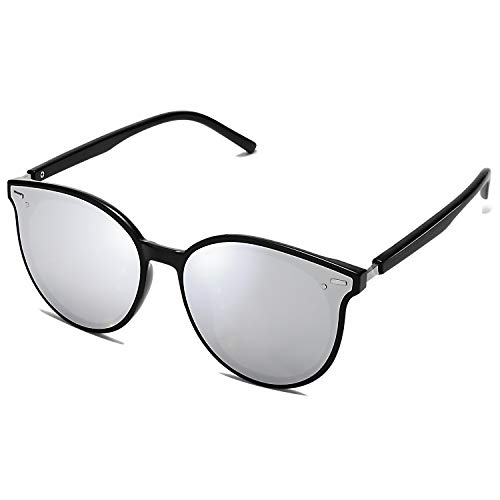 SOJOS Classic Round Retro Plastic Frame Vintage Inspired Sunglasses BLOSSOM SJ2067 with Black Frame/Silver Mirrored Lens