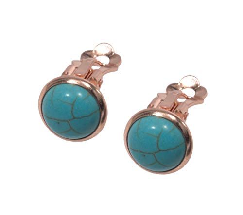 Turquoise Clip Earrings - Clip Earrings, Rose Gold Plated Turquoise Earrings + FREE GIFT BAG