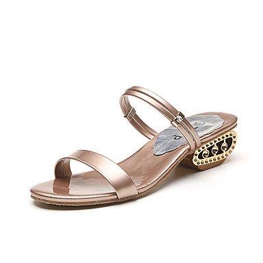 Mujer RUGAI Confort Verano 5 PU Champagne sandalias Negro de UK6 zapatos de US8 CN40 UE casuales 5 UE39 Moda tacones gW4nrwIqW