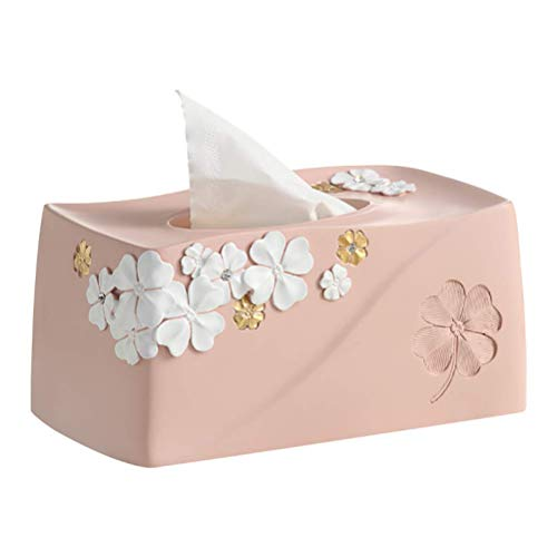 Niceroy Home ins Creative Rectangle Resin White Flower Floral Paper Facial Tissue Box Cover Organizer Holder for car Bathroom Vanity Countertops Bedroom Dressers Night Stands Desks and Tables - Pink