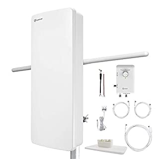 ANTOP HDTV Antenna with Smart Boost System,Indoor/Outdoor Multi-Directional, 85 Mile Range,UHF/VHF Range Enhanced, Support 4K 1080p Channels & All Older TV's for Outdoor