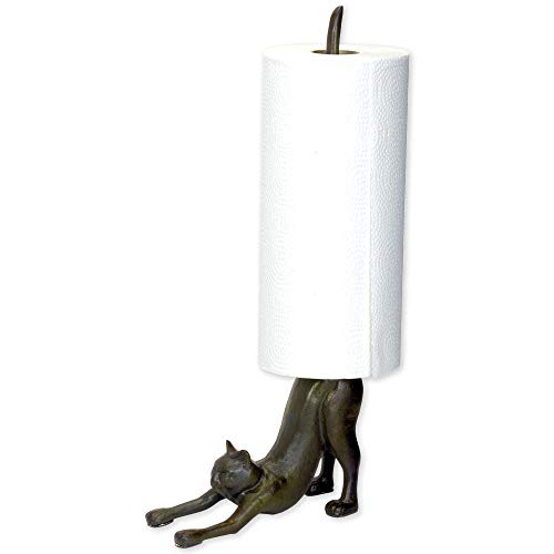 Cat Towel Holder - Bits and Pieces - Cat Paper Towel Holder Sculpture - Polyresin Kitchen Statue/Accessory