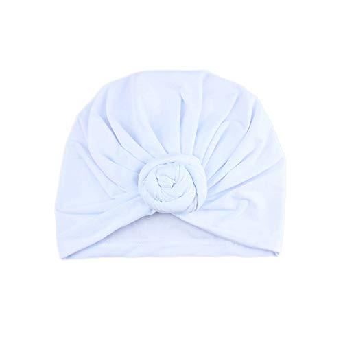 Lightclub Fashion Adult Women Newborn Baby Girl Donut Turban Hat Elastic Cotton Beanie Cap - White Baby Girl