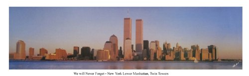 We will never forget USA New York City View of Manhattan Twin Towers - 13.5x39 Panoramic Poster. Frame Dimensions 15.5x41 Deluxe Brown