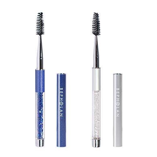 BEPHOLAN 2Pcs Crystal Eye Brush | Eyelash and Eyebrow Brush | with Cap for Travel | Portable Cosmetic Brushes | Makeup Grooming Tool | Silver and Blue