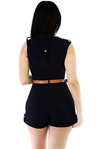 NEW Femme Bleu Marine Boucle jusqu'élégant Combinaison Grenouillère Pyjama Combinaison Club Wear Taille UK 10–12–EU 38–40