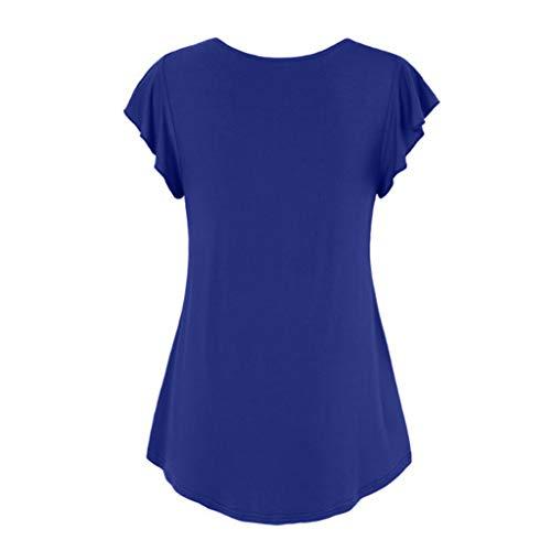 TnaIolral Plus Size Women Top Summer Sexy Solid Color V-Neck Short Sleeve Cotton Shirt (XXL, Blue) - Vera Wang Macys