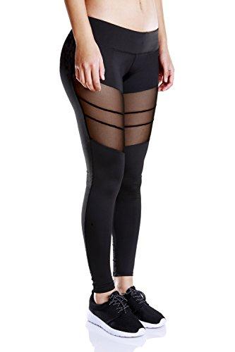 Besporter mujeres Fitness pantalones deportivos Leggings Stretch Athletic pantalones de yoga negro