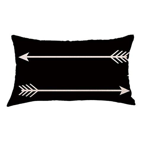 Bokeley Pillow Case, Flax Rectangle Geometry Arrow Painting Decorative Throw Pillow Case Bed Home Decor Car Sofa Waist Cushion Cover (E)