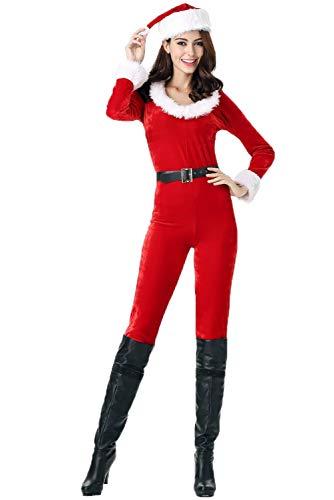Womens Christmas Onesie Costume Mrs Santa Claus Xmas Party Jumpsuit Bodysuit Set -