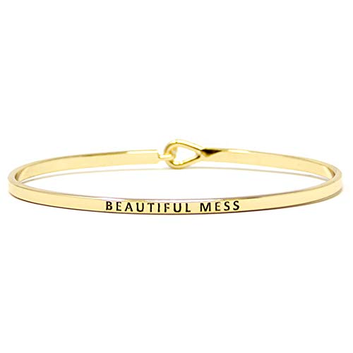 Gold Engraved Bangle - Me Plus Inspirational Bracelets for Personalized Gifts Positive Message Engraved Thin Bangle Hook Bracelet (Beautiful Mess - Gold)
