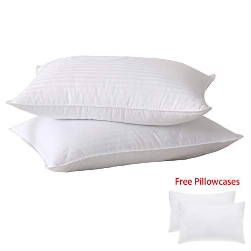 (SUFUEE Luxury Goose Feather and Down Pillows, Pair of 2 100% Cotton Shell,Soft Hotel Quality Pillows)