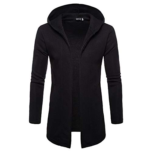 YOcheerful Men Hooded Cardigan Overcoat Fall Winter Coat Gilet Jacket Solid Outwear (B-Black,M)