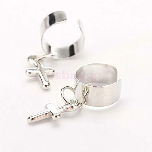 1 Pair Korea Style Sier Tone Solid Crosdant Ear Clip Cuff Earrings Gift Necklace Jewelry Crafting Key Chain Bracelet Pendants Accessories Best