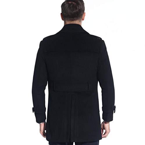 Gilet En Caban Style S Homme couleur Noir Ljxwh Chaude Veste Pour À Laine Taille Noir Boutonnage 2xl S Manteau Double Britannique qx5OOCz1w