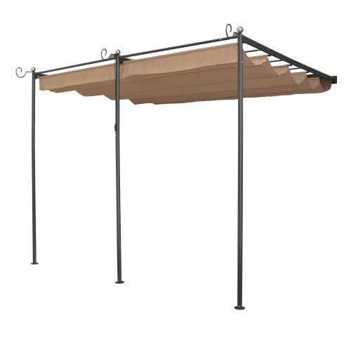 Bosmere PERWM1 Rowlinson St. Tropez Wall-Mounted Steel Sun Canopy with Retractable Fabric, Gunmetal Grey by Bosmere