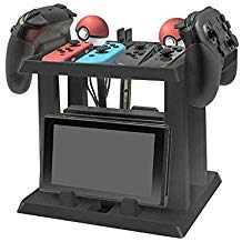 RLTech Nintendo Switch Stand, [All-In-One Base] [Durable] [Multifunction] Stand Storage holder for Pokeball Plus Controller + Nintendo Switch Game accessories by RLTech
