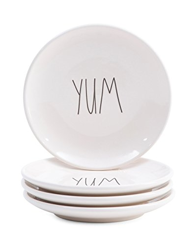 "RAE DUNN ""YUM"" SET OF 4 PLATES appetizers horderves snack"