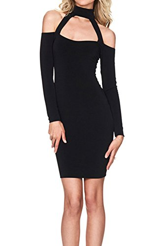 Lppgrace® Women's Sexy Bodycon Bandage Halter Strapless Long Sleeve Party Dresses (Small, (Open Front Mini Dress)