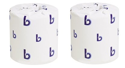 Boardwalk 6150 White Embossed 2-Ply Standard Toilet Tissue, 500 Sheets per Roll (Case of 96) (2-(Case of 96))