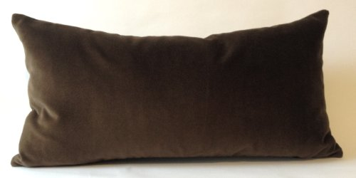 - Decorative Velvet Throw Pillow Cover -Medium Weight Cotton Velvet- Invisible Zipper Closure -Insert pillow no included (Chocolate Brown, 12x24 Pillow Cover Only)