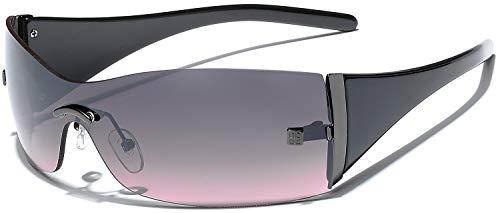 (Women's Rimless Shield Fashion Statement Sunglasses (Black | Pink, 157))