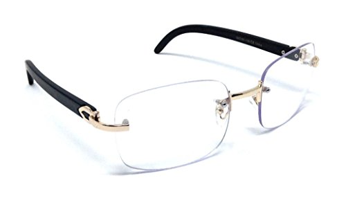 Dasher Rimless Square Metal & Wood Eyeglasses / Clear Lens Sunglasses (Rose Gold & Black Wood Frame, Clear) ()