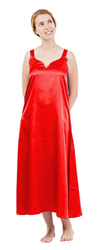 - Up2date Fashion Women's Classic Satin Camisole/Chemise, Long NightgownXlargeRed