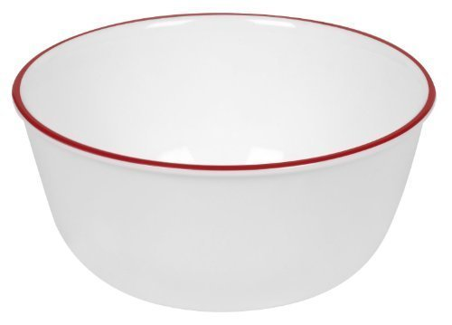 Corelle Livingware 28-Ounce Super Soup/Cereal Bowl, Red Band (3 Bowls) by Corelle