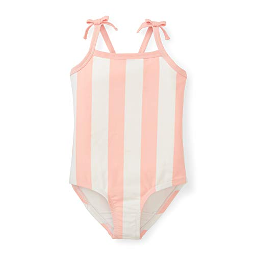 Hope & Henry Girls' Pink and White Striped Cross Back Swim Containing Recycled Fibers
