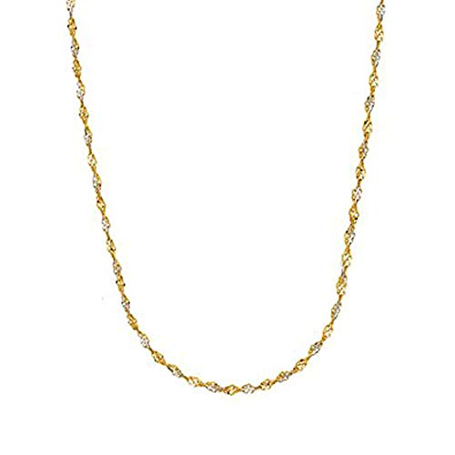 Ritastephens 14k Gold Yellow and White Two Tone Singapore Chain Necklace 2mm 20 Inches