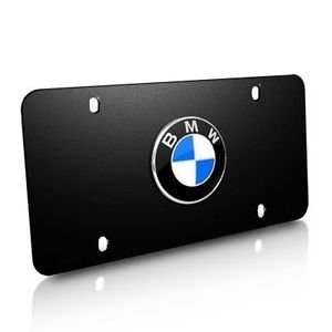 (Genuine BMW Stainless Steel Marque License Plate with BMW Logo- BLACK)
