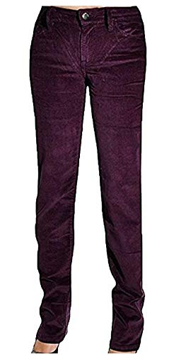 Calvin Klein Jeans Women's Power Stretch Straight Leg Corduroy Pants Burgundy (6x30)
