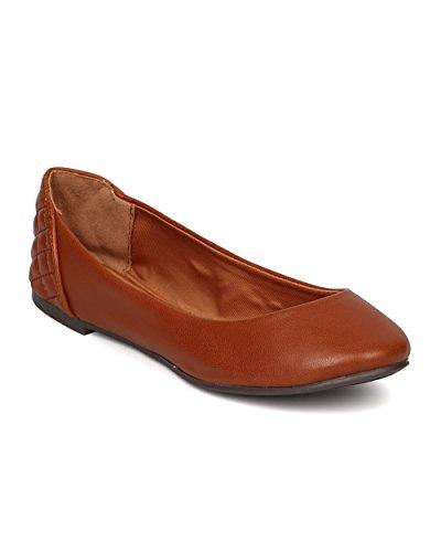 Breckelles FI16 Women Leatherette Round Toe Quilted Ballet Flat Tan qUVza68jLM