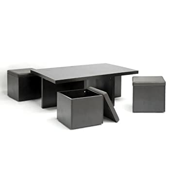 Baxton Studio Prescott 5-Piece Modern Table and Stool Set with Hidden Storage