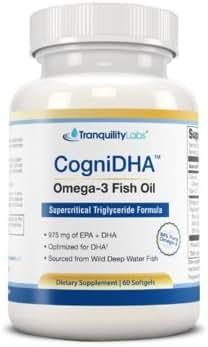 High DHA Omega 3 Fish Oil - CogniDHA - Pharmaceutical Grade - 1,250 mg Omega-3s - Supercritical CO2 Triglyceride Formula - 775/200 DHA/EPA - Excellent for Prenatal