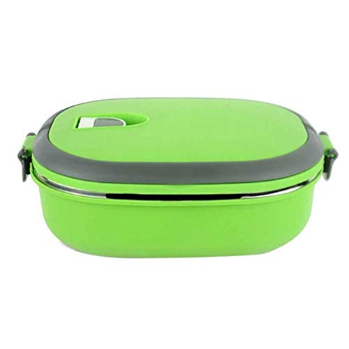Riverlily Single/Two Layers Rectangle Stainless Steel Lunch Box Insulated Thermos Bento School Student Children Food Container ()