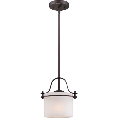(Nuvo Lighting 60/5005 Loren One Light Mini-Pendant 100 Watt A19 Max. Etched Opal Glass Venetian Bronze Fixture)